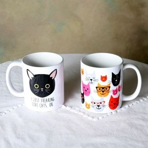 Vintage Pair of Unique Super Cute Cat Mugs
